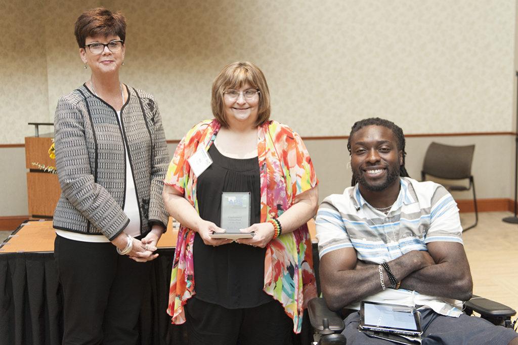 (l-r) Noel Tyler, director, Department of Rehabilitation Services; Kris Pruitt of Kellyville; and Emeka Nnaka, Motivational Speaker