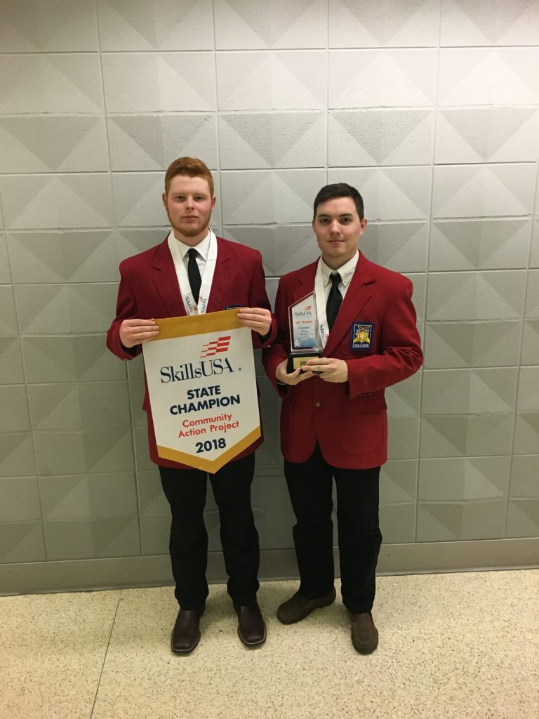 Community Action Project Post-Secondary 1st place: (L-R) Austin Davidson, Cleveland; Blake Casey, Cleveland