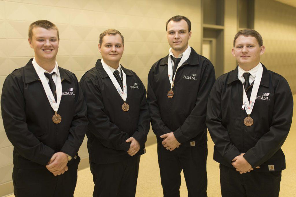 TeamWorks 3rd place: (L-R) Austin Wilcox, Sapulpa; David Quinn, Stroud; Dakota Crutchfield, Cleveland; Edison Miller, Cleveland